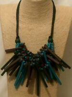 Womens Statement Chunky Long Big Large Multi Coloured Beaded Spike Wood Necklace