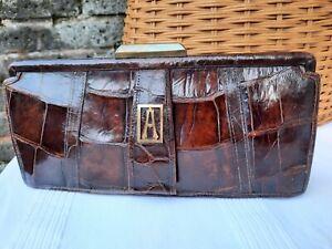 Original 1920s Art Deco French Cognac Crocodile Clutch Hand Bag... Stunning...