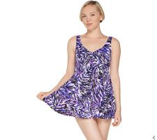 Fit 4 U V-Neck Swing Swim Dress Black 10 NEW A305896