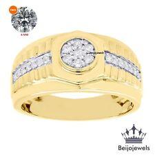 10K Yellow Gold Round Diamond Mens Wedding Band Engagement Pinky Ring1.1Ct