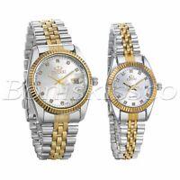 Luxury Rhinestone Stainless Steel Quartz Analog Wrist Watch For Men Women Couple