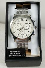 TMC FOSSL Casual Round Silver White Face Watch with Mesh Band  NEW