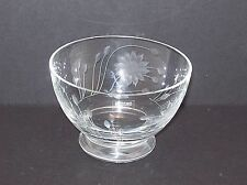 Krosno Poland Clear Floral Crystal Cut Glass Footed Bowl Candy Dish Sunflower