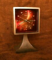 Vintage Rhythm Alarm Clock Japan, Burgundy Dial Rare mechanical Alarm Clock #W14