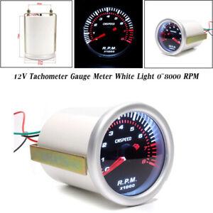 2'' 52MM Car Modified Tachometer Gauge Tacho Meter White Light 0~8000 RPM 12V
