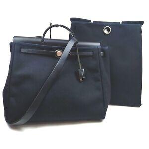 Hermes Hand Bag  Black Canvas 1713840