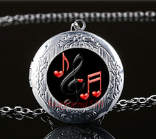Music Note Photo Cabochon Glass Tibet Silver Locket Pendant Necklace#Q47