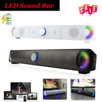 Wireless Bluetooth LED HD Sound Bar Stereo Speaker Soundbar Audio for Home PC TV