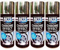 4 x Chrome Effect Spray 200ml Paint Auto DIY Car Trendy Foil Mirror Metallic..