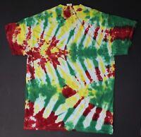 Tie Dye T-Shirt Adult M Green Reggae Tread Gildan Heavy Cotton Free Shipping