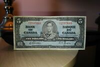 1937 $5 Dollar Bank of Canada Banknote NC2507649 F 12