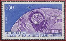 1962 ANDORRE N°165** Espace, Satellite Telstar , French Andorra Space MNH