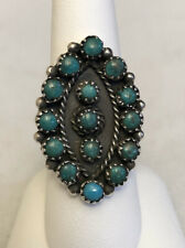 Vintage Navajo Native American Sterling Silver Turquoise Cluster Ring     #107