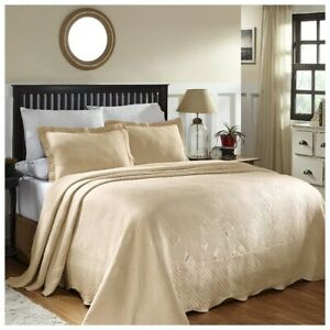 Superior Geometric Design Scalloped Bedspread Ivory 3-pc Full 100% Cotton