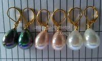 Großhandel 3 Paare weiße rosa bunte schwarze 12-16mm Muschel Perle Ohrringe
