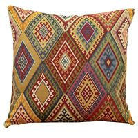 "Traditional Vintage Kilim Cushion 17x17"" Square Turkish Style Geometric Tapestry"
