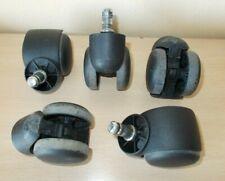 5x ruedas para silla oficina negras con freno. bulón D x L 11x22mm.