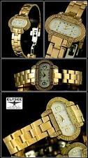 Donna Orologio Trend con similie PIETRE IP- placcato oro pezzo di design NUOVO