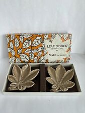 More details for boxed wade. pair of porcelain leaf dish. c1950.