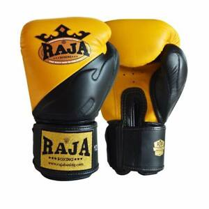 NEW RAJA AIR PREMIUM YELLOW/BLACK MARTIAL ARTS MUAY THAI BOXING LEATHER GLOVES
