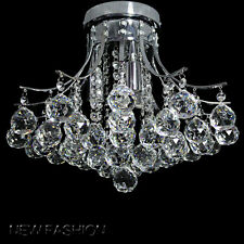 Genuine Crystal Glass Lighting Ceiling Light Silver Chrome Finished Chandeliers