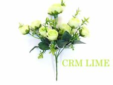 """2 Bushes Small Rose Buds 10 Artificial Silk Flowers 13"""" bouquet 5036"""