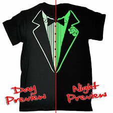 Tuxedo GLOW IN THE DARK T-SHIRT tux suit party formal dress funny birthday gift
