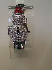 Silver Finish Christmas Snow Man Women's Fashion Stone Bangle  Watch