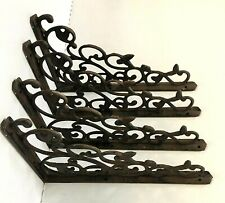"4 LG LEAF & VINE SHELF BRACKET BRACE Vintage Style Antique Brown Cast Iron 12"""