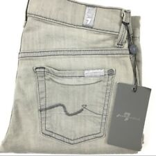 NWT 7 For All Mankind Womens Size 24 Straight Leg Jeans Light Gray 7FAMK New