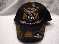 """/""""THE MOTHER ROAD ROUTE 66/"""" 3D POP EMBROIDERY BLACK COLOR BASEBALL CAP//HAT"""