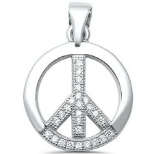 Round CZ Peace Sign Charm .925 Sterling Silver Pendant
