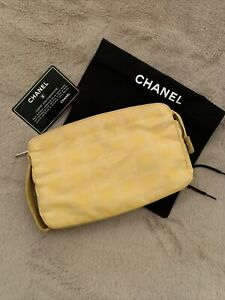 Chanel Travel Line Yellow Clutch Zip Top Leather & Canvas Bag Purse