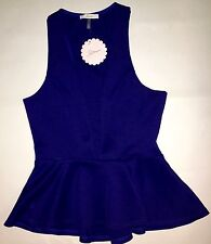 WOMEN'S SMALL,ROYAL BLUE, STRETCH TOP WITH RUFFLE BY SOPRANO, BRAND NEW!