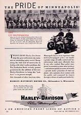"1944 Vintage Harley Davidson Police Motorcycles ""Minneapolis, Minnesota Print Ad"