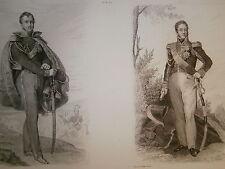 Gravure 19° portrait de Joseph Poniatowsky et Louis Suchet Maréchal d'empire