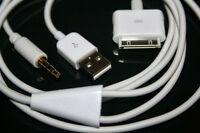 Y Cable Car AUX USB Audio White Cord 4 iPhone iPod iPad BMW Volvo Sony Ford HQ