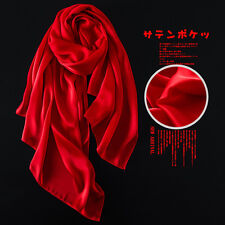 Fashion Women Lady Real 100% Silk Scarf Long Solid Wraps Shawl Scarfves Bandana
