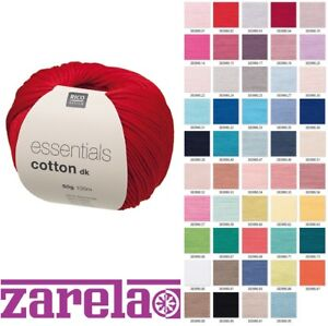 RICO DESIGN ESSENTIALS COTTON DK DOUBLE KNITTING YARN - 50g - ***ALL COLOURS***