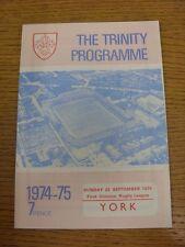 22/09/1974 programma Rugby League: Wakefield Trinity V York. condizione: abbiamo ASP