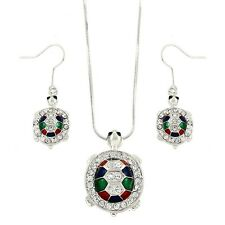 """Turtle Necklace & Earrings Set - Sparkling Crystal - Fish Hook - 18"""" Chain"""