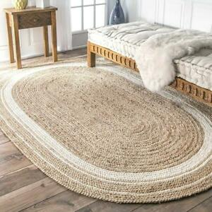 Rug 100% Natural Jute Vintage Oval Handmade Reversible Floor Area carpet Rag Rug