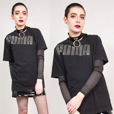PUMA BLACK T-SHIRT WOMENS VINTAGE CREW NECK SPORTS 90'S STYLE LOGO PRINT 12 14