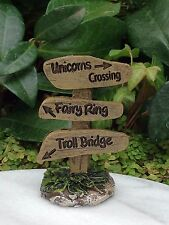 Miniature Dollhouse FAIRY GARDEN ~ Unicorn Crossing Fairy Ring Troll Bridge Sign