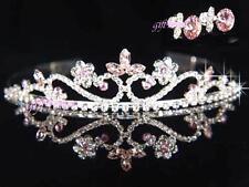 OFERTA Graduación Dama de honor rosa cristal bañado en plata TIARA CON