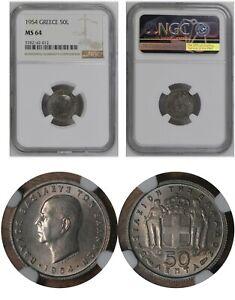MS 64 NGC 50 Lepta 1954 Greece UNC Coin  # 80