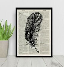 Feather Art on Antique Book page, Art Print - Vintage Dictionary Page Art Print