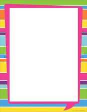 """Barker Creek Designer Computer Paper - Happy Bright Stripe, 8-1/2 x 11"""", 50 per"""