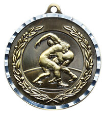 """Wrestling gold medal w/ silver edge engraving included 2"""" diam. w/ neck ribbon"""