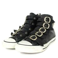 CHROME HEARTS SNEAKERS MEN CASUAL SHOES BLACK SILVER LEATHER 25.5CM HIGH CUT